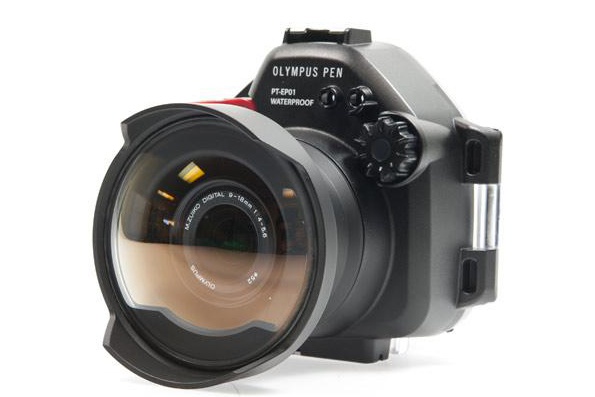 Сферический стеклянный порт WA-100-EP для объектива 9-18mm для боксов Olympus PT-EP01, PT-EP02, PT-EP03, PT-EP05L, PT-EP06
